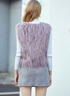 O-neck Sleeveless Short Faux Fur Vest