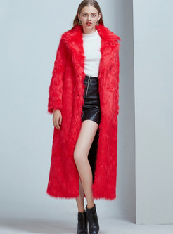 Notched Long Sleeve Single-breasted Fur Coat