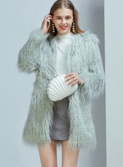 Winter Pure Color Loose Thick Warm Fur Overcoat