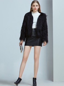 Black Long Sleeve Slim Faux Fur Coat
