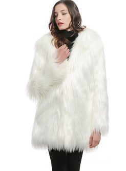 Long Sleeve Thick Warm Faux Fur Coat