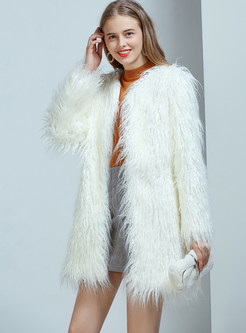 Brief White O-neck Straight Faux Shearling Coat