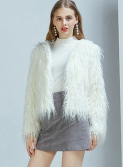 White V-neck Long Sleeve Cardigan Faux Fur Coat