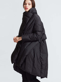 Black Stand Collar Plus Size Puffer Coat
