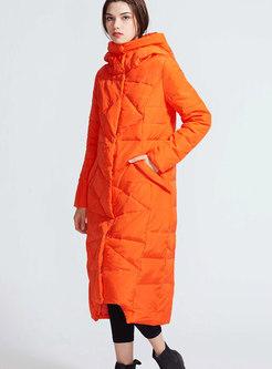 Fashion Monochrome Hooded Long Down Coat