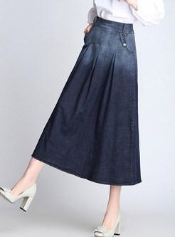 Elastic Waist Mid-claf Denim A Line Skirt