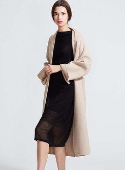 Trendy Beige Double-sided Cashmere Coat With Belt
