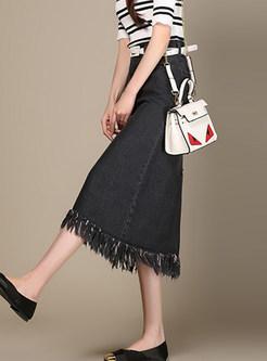 Brief High Waist Plus Size Tassel Selvedge Skirt