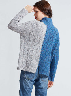 Chic Stitching Short Knitted Sweater With Split