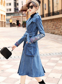 Trendy Notched Tie-waist Slim Embroidered Denim Coat