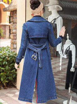 Color-blocked Notched Waist Denim Trench Coat