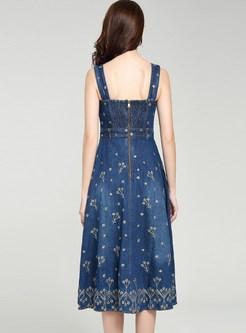 Fashion Denim High Waist Slim Strap Dress