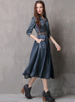 Turn Down Collar Half Sleeve Big Hem A Line Dress