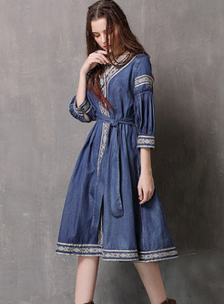 Vintage V-neck Three Quarters Sleeve Tie-waist Dress