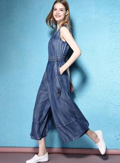 Fashion O-neck Sleeveless Waist Zippered Jumpsuits