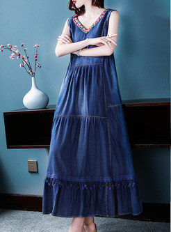 V-neck Sleeveless Splicing Big Hem Denim Dress
