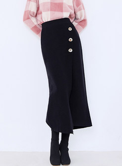 Solid Color Shearling Asymmetric Skirt