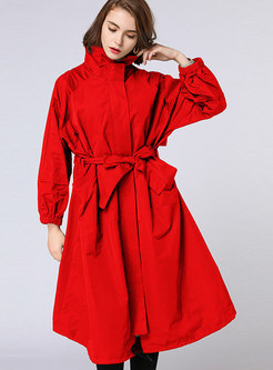 4936f8661b668 ... Autumn Plus Size Red Belted Trench Coat