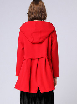 Brief Red Hooded Loose Thicken Short Coat
