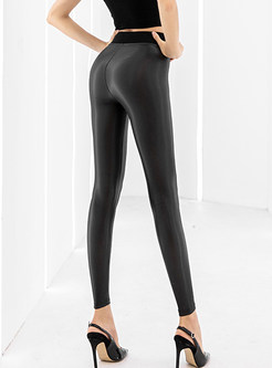 Solid Color High Waist Slim PU Plus Velvet Pants