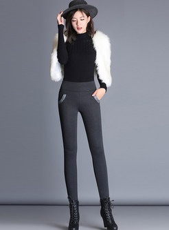 Elastic Waist Slim Thick Pencil Long Pants