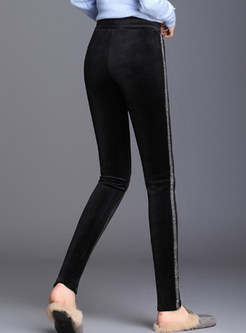 Casual Elastic Waist Striped Slim Pencil Pants