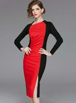 Color-blocked Long Sleeve Slit Bodycon Dress
