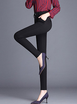 Brief Black Easy-matching Elastic Pencil Pants