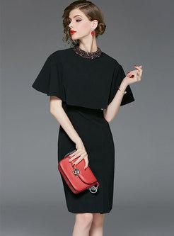 Black Sleeveless Bodycon Dress With Cape