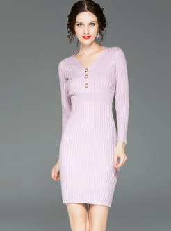 Black V-neck Long Sleeve Gathered Waist Dress
