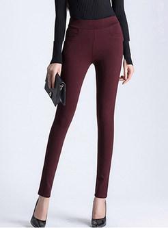 Red Elastic High Waist Slim Long Pants