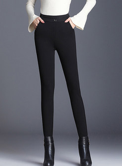 Solid Color High Waist Elastic Slim Leggings Pants