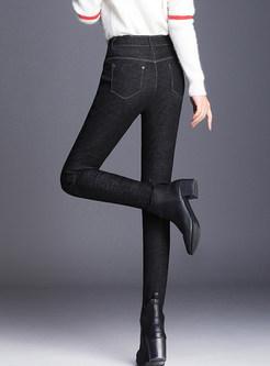 Casual Plus Velvet Thermal Slim Elastic Denim Pants