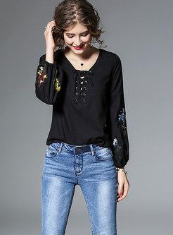 Stylish V-neck Embroidered Drawstring Blouse