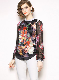 Print Mock Neck Perspective Pullover Blouse
