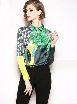 Stylish All-matched Printed Slim Blouse