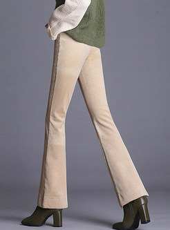Solid Color High Waist Easy-matching Flare Pants