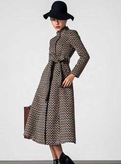 Vintage Houndstooth Stand Collar Slim Wool Coat