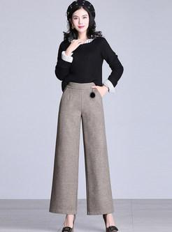 Casual Elastic Waist Woolen Wide Leg Pants