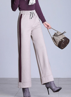 Stylish Elastic High Waist Tied Wide Leg Pants