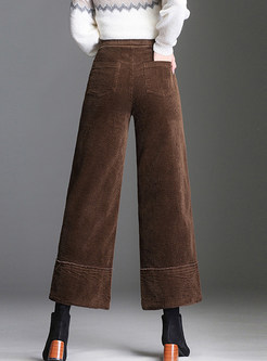 Solid Color High Waist Wide Leg Pants With Button