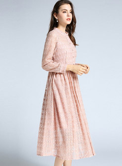 Fashion Pink Lace Hollow Out High Waist Dress