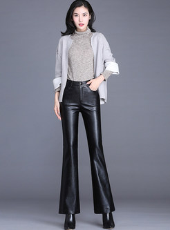 Fashion PU High Waist Slim Flare Pants