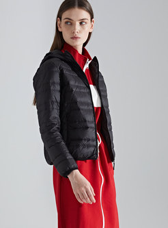 Winter Black Hooded Plus Size Down Coat