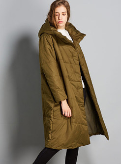 Pure Color Plus Size Hooded Long Sleeve Down Coat