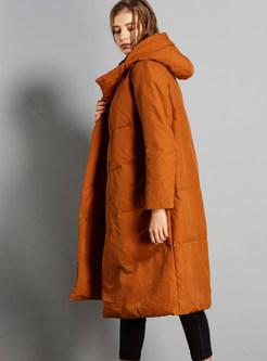 Hooded Long Sleeve Loose Single-breasted Down Coat
