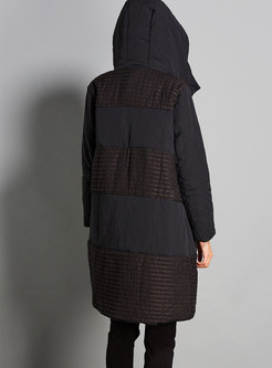 Hooded Plus Size Color-blocked Striped Bubble Coat