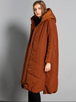 Pure Color Zippered Long Sleeve Bubble Coat