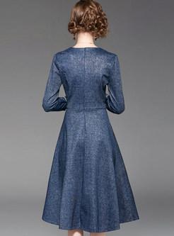 V-neck Three Quarters Sleeve High Waist A Line Dress
