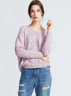 Casual Pink V-neck Solid Color Knitted Sweater